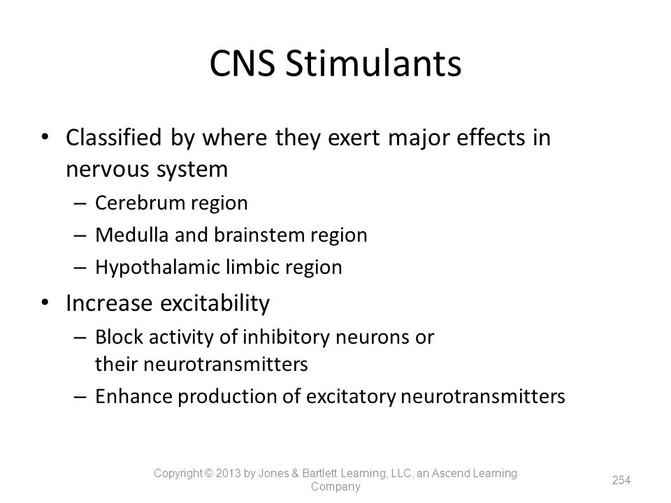 CNS Stimulants Classified by where they exert major effects in nervous system. Cerebrum region. Medulla and brainstem region.