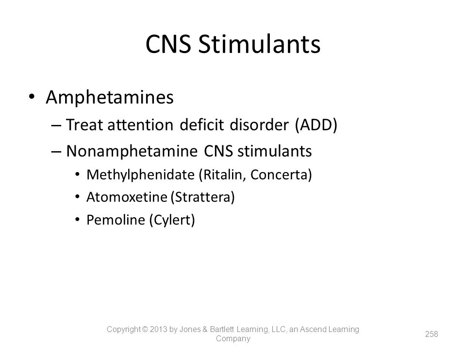 CNS Stimulants Amphetamines Treat attention deficit disorder (ADD)