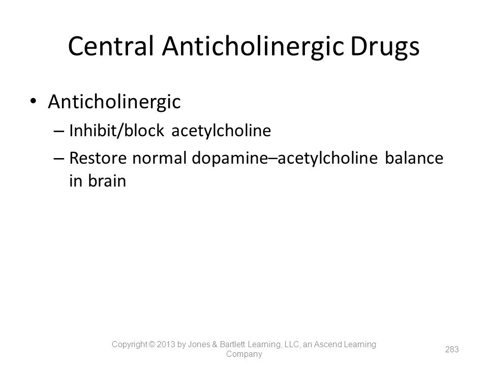 Central Anticholinergic Drugs