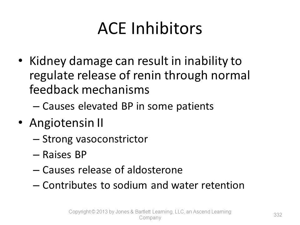 ACE Inhibitors Kidney damage can result in inability to regulate release of renin through normal feedback mechanisms.