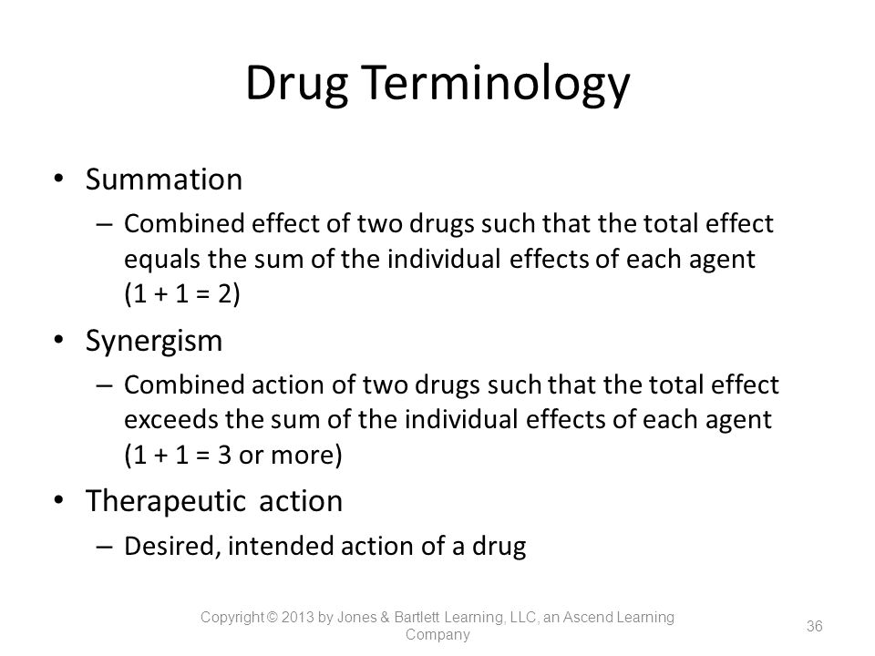 Drug Terminology Summation Synergism Therapeutic action