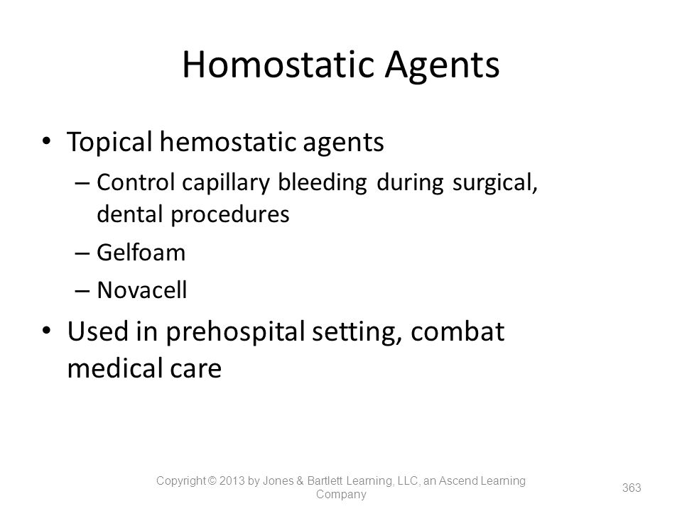 Homostatic Agents Topical hemostatic agents