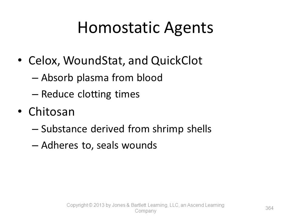 Homostatic Agents Celox, WoundStat, and QuickClot Chitosan