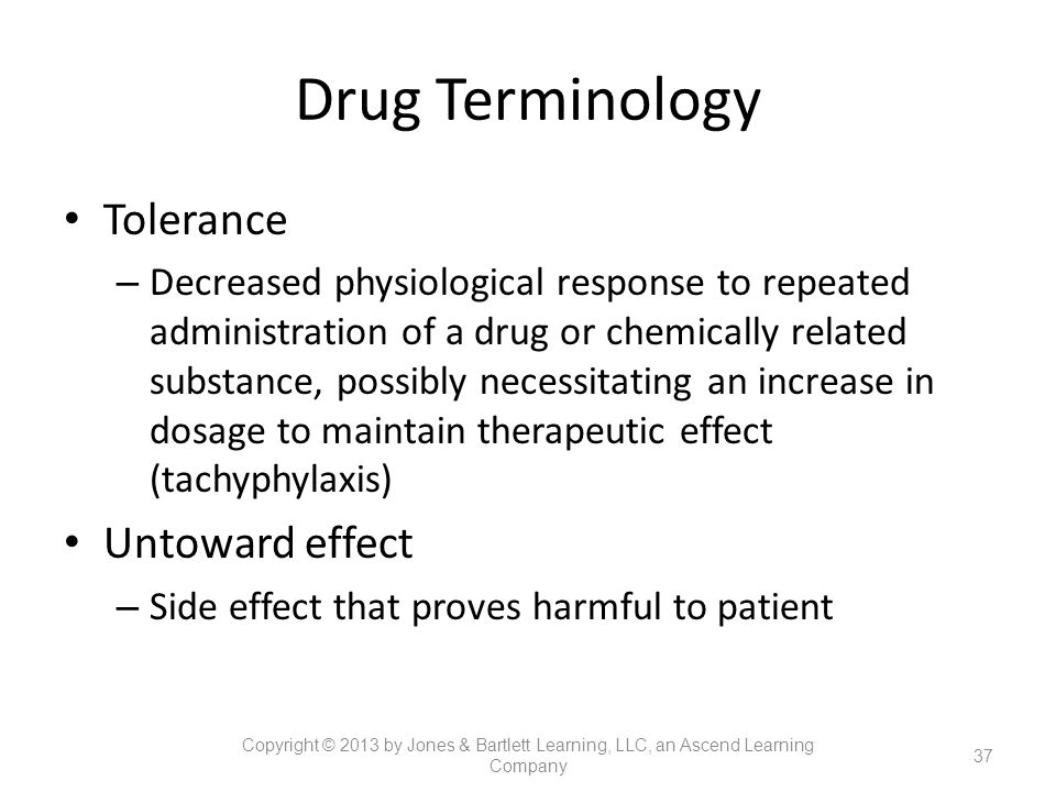 Drug Terminology Tolerance Untoward effect