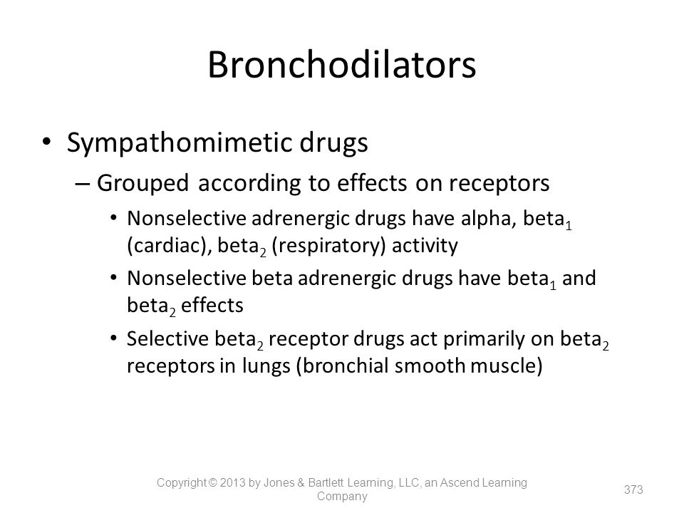 Bronchodilators Sympathomimetic drugs