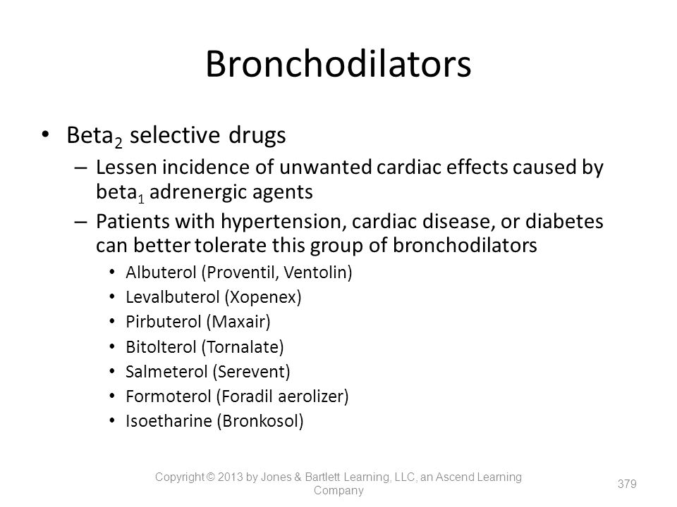 Bronchodilators Beta2 selective drugs