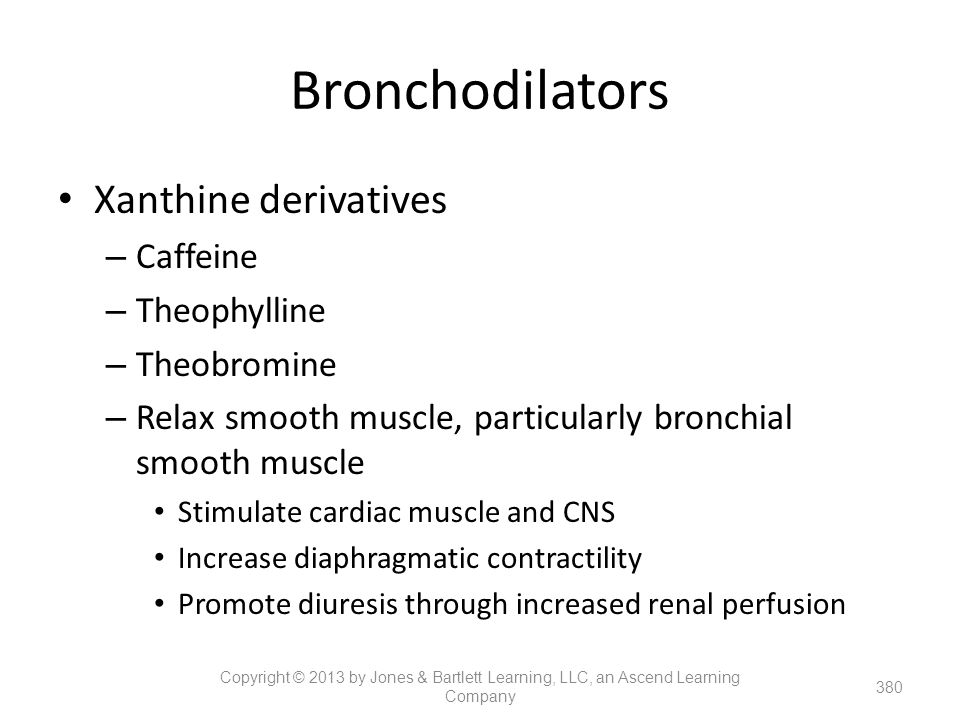 Bronchodilators Xanthine derivatives Caffeine Theophylline Theobromine