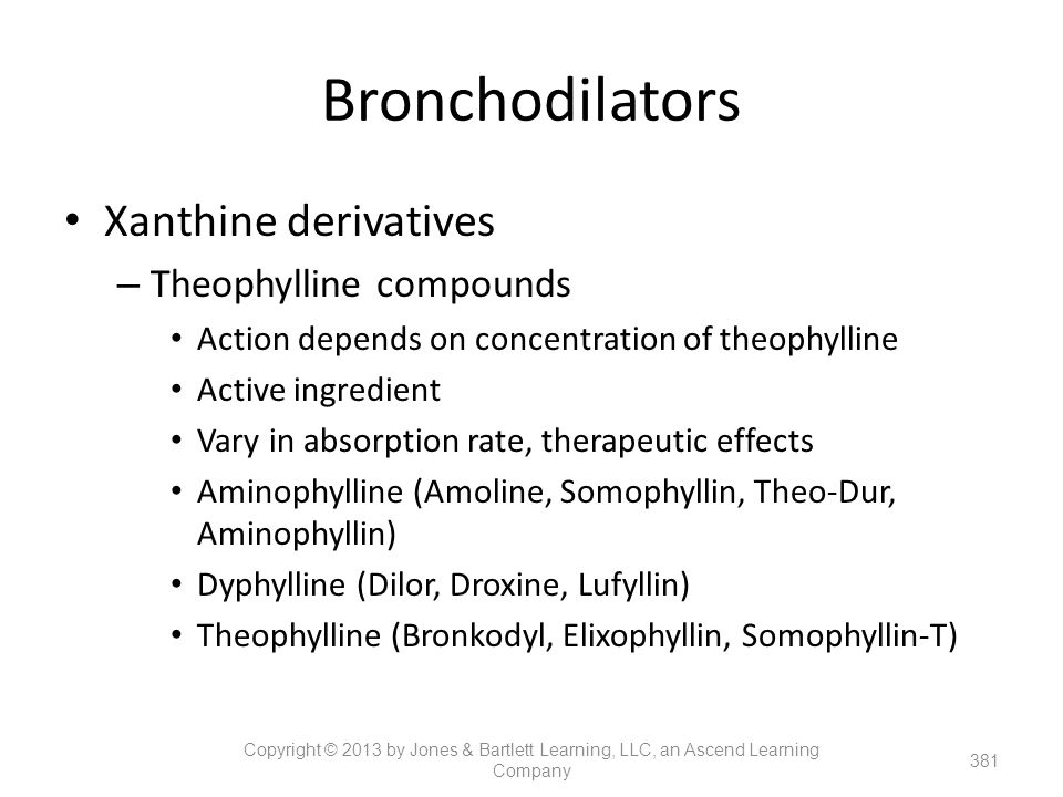Bronchodilators Xanthine derivatives Theophylline compounds
