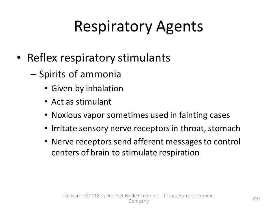 Respiratory Agents Reflex respiratory stimulants Spirits of ammonia