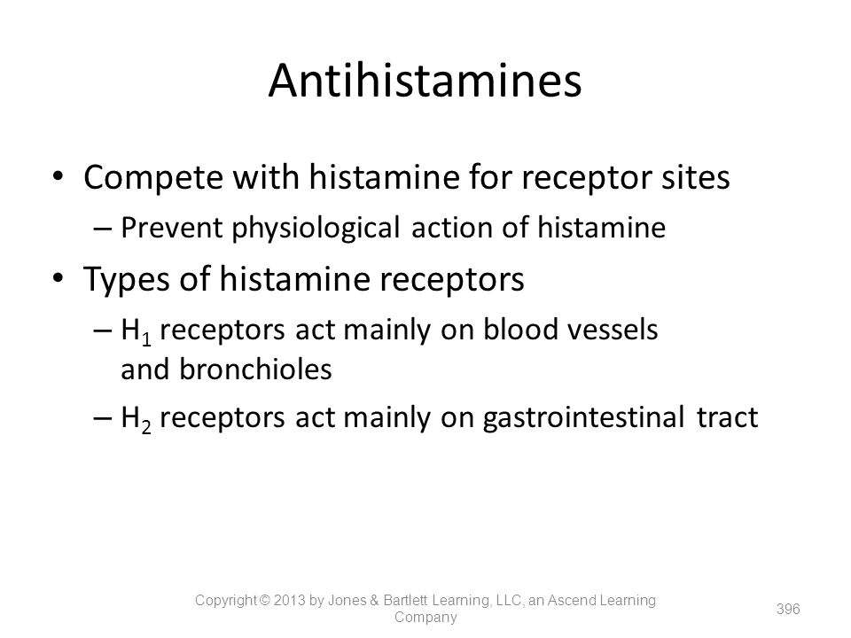 Antihistamines Compete with histamine for receptor sites