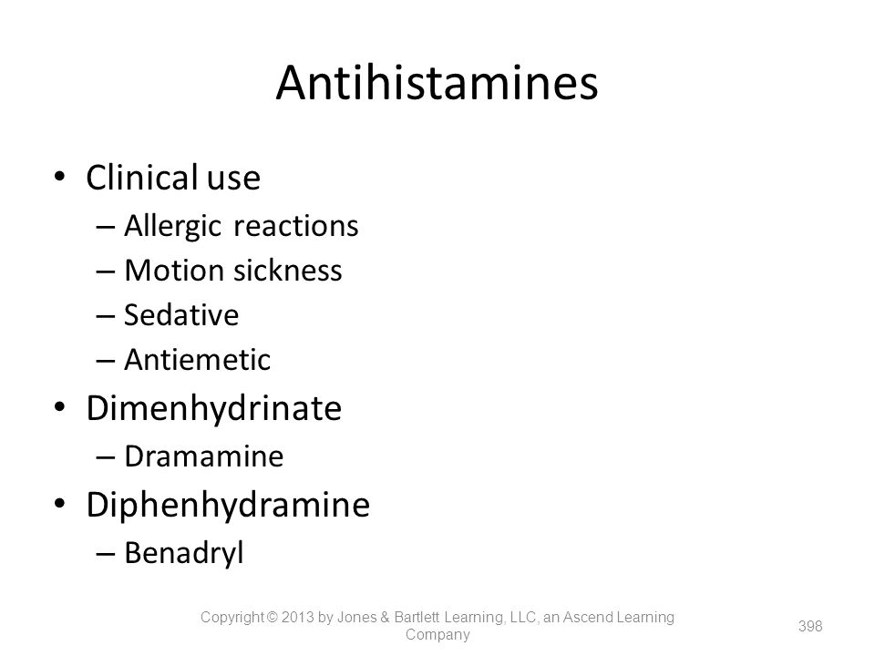Antihistamines Clinical use Dimenhydrinate Diphenhydramine
