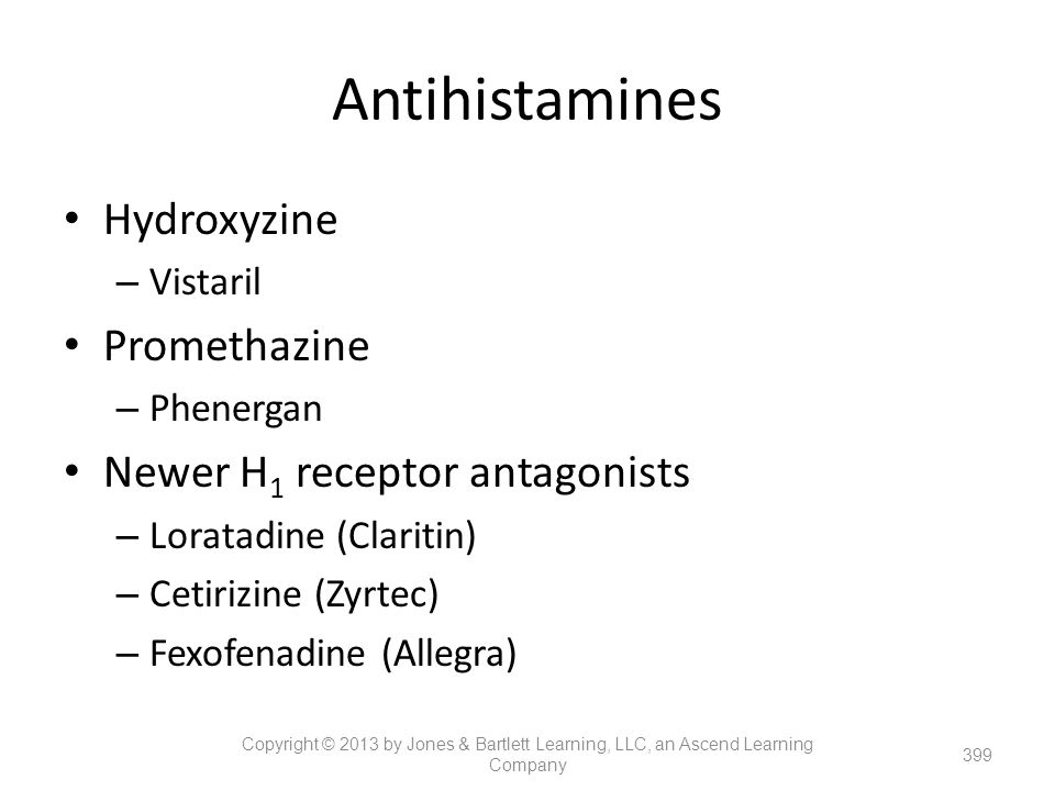 Antihistamines Hydroxyzine Promethazine Newer H1 receptor antagonists