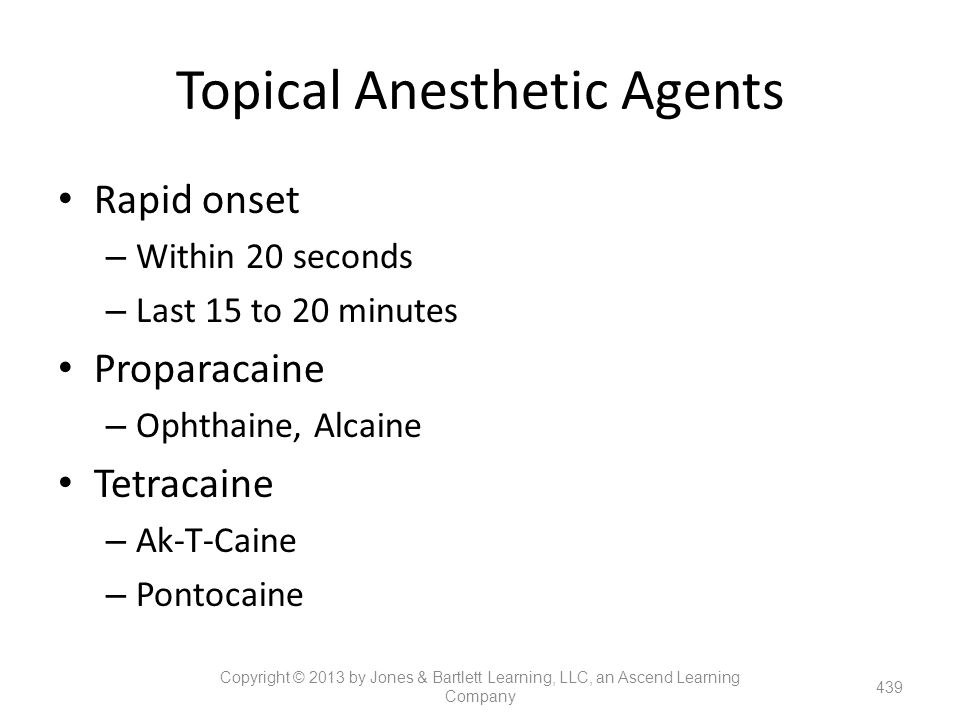 Topical Anesthetic Agents