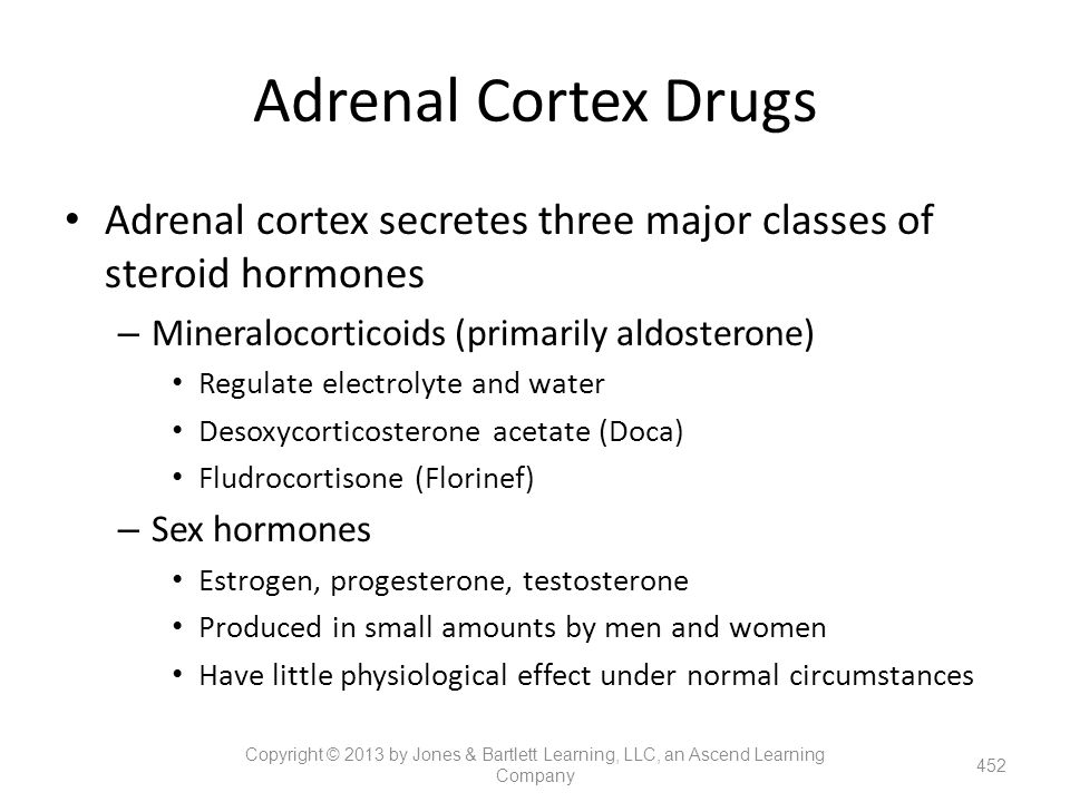 Adrenal Cortex Drugs Adrenal cortex secretes three major classes of steroid hormones. Mineralocorticoids (primarily aldosterone)