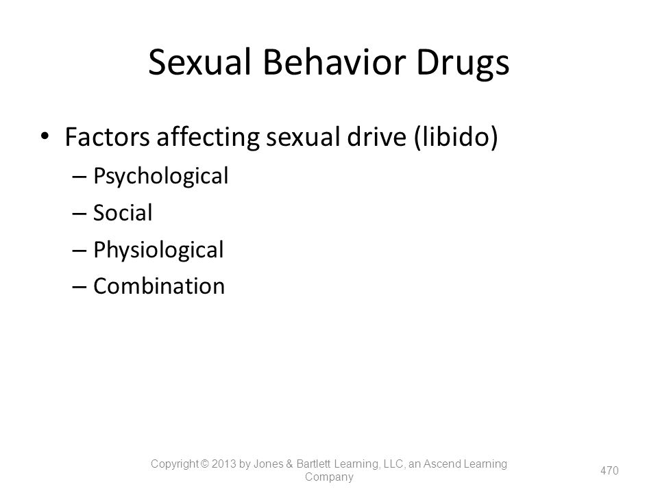 Sexual Behavior Drugs Factors affecting sexual drive (libido)