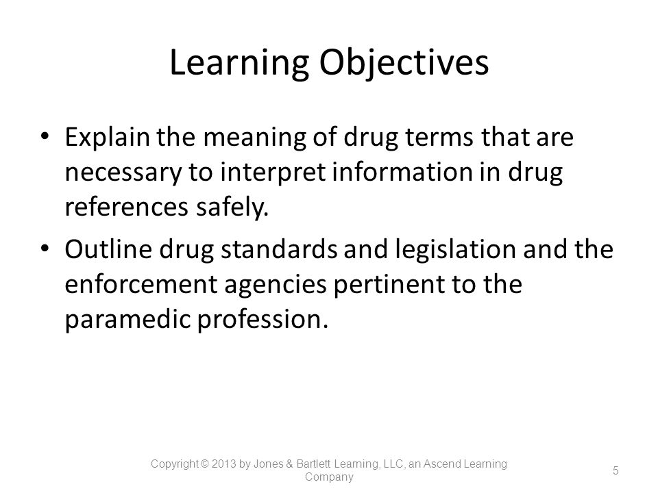 Learning Objectives Explain the meaning of drug terms that are necessary to interpret information in drug references safely.
