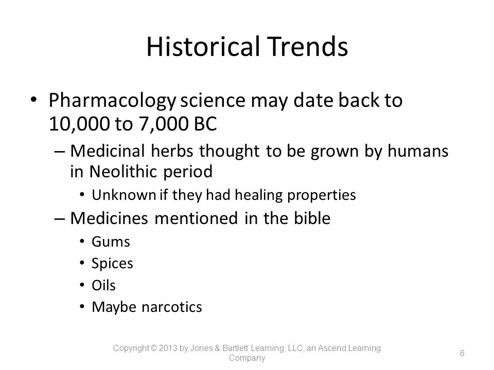 Historical Trends Pharmacology science may date back to 10,000 to 7,000 BC. Medicinal herbs thought to be grown by humans in Neolithic period.