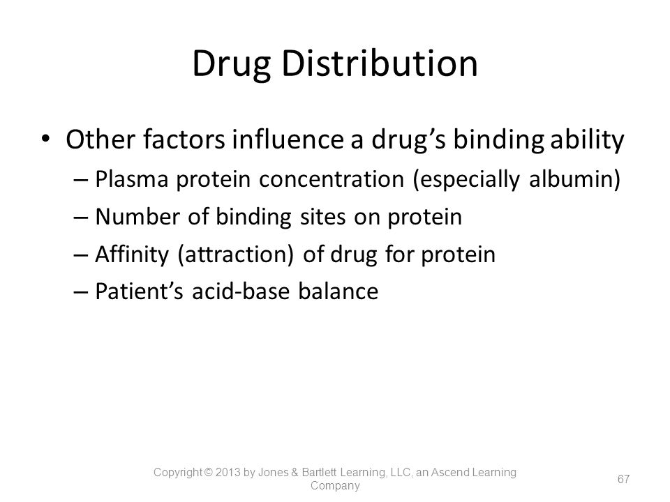 Drug Distribution Other factors influence a drug's binding ability