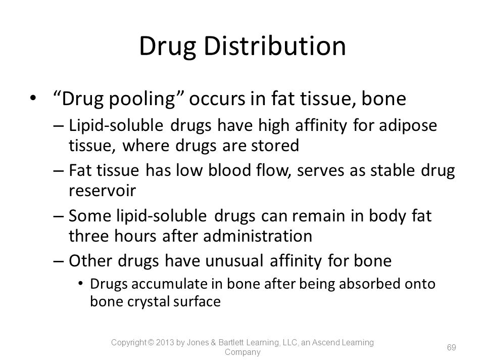 Drug Distribution Drug pooling occurs in fat tissue, bone