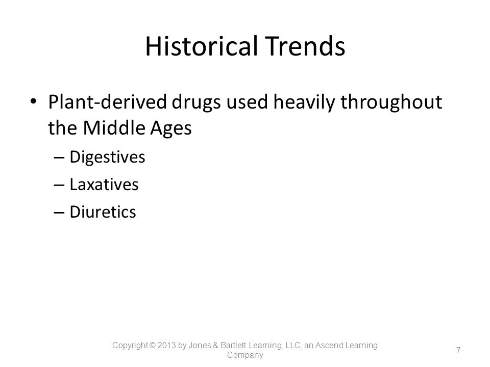 Historical Trends Plant-derived drugs used heavily throughout the Middle Ages. Digestives. Laxatives.
