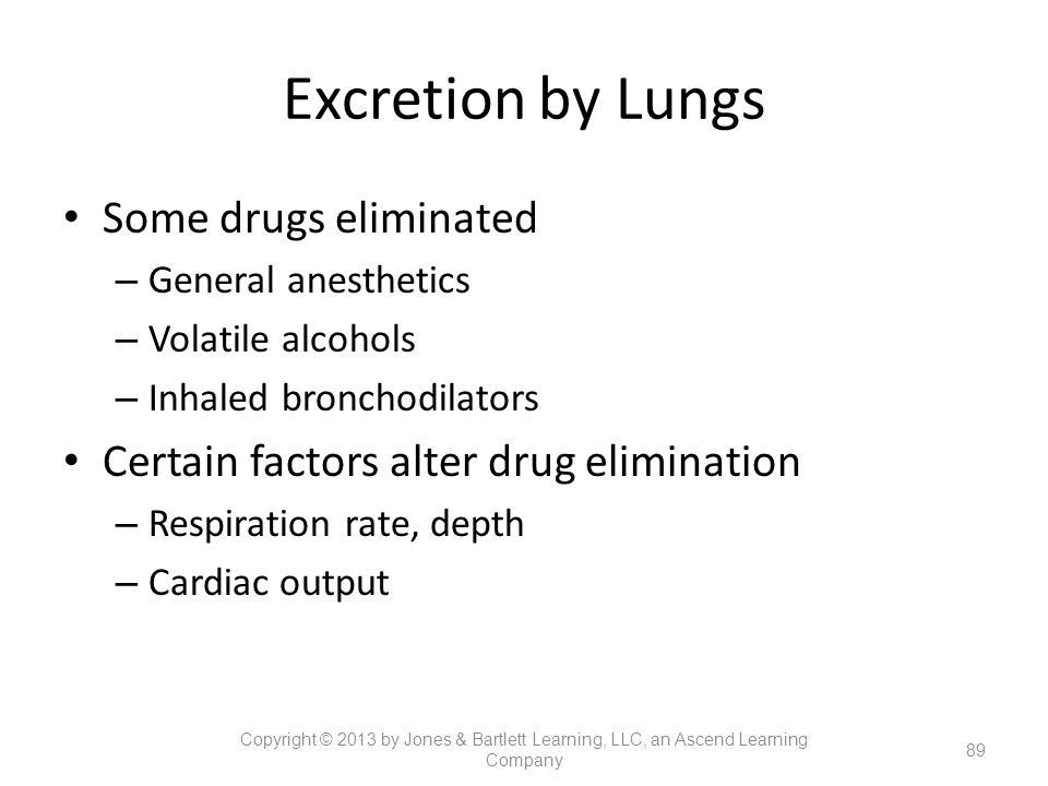 Excretion by Lungs Some drugs eliminated