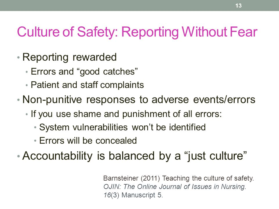 Culture of Safety: Reporting Without Fear