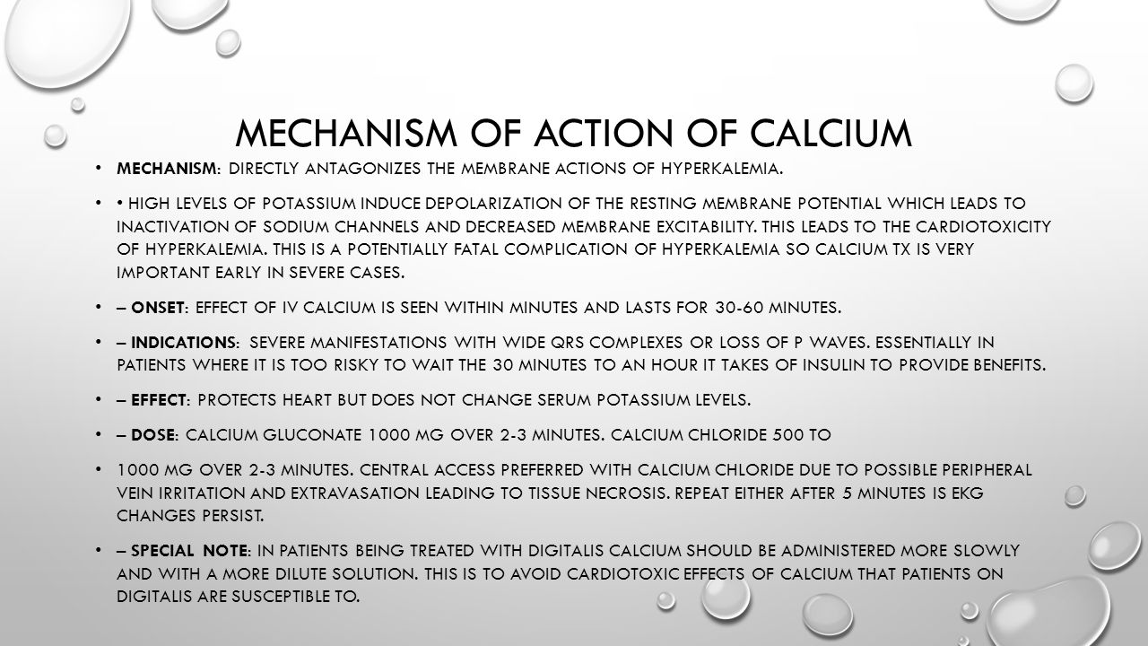 Mechanism of action of calcium