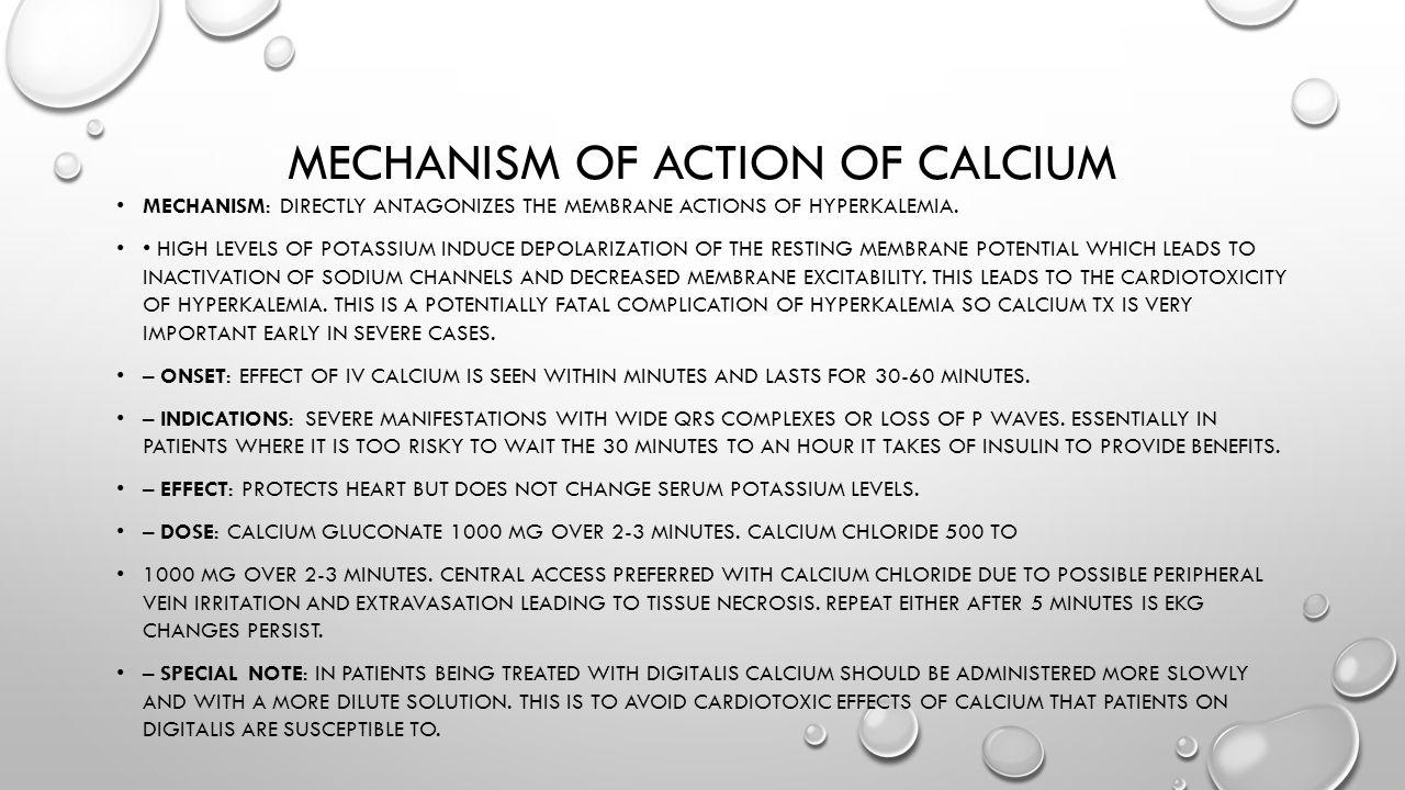 Mechanism of action of calcium