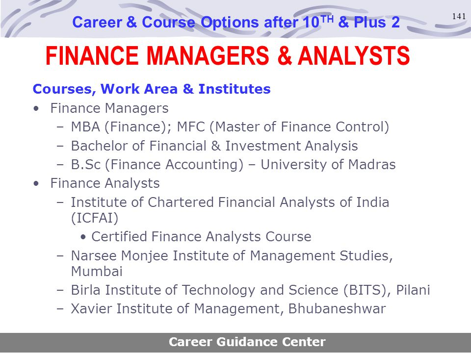 FINANCE MANAGERS & ANALYSTS