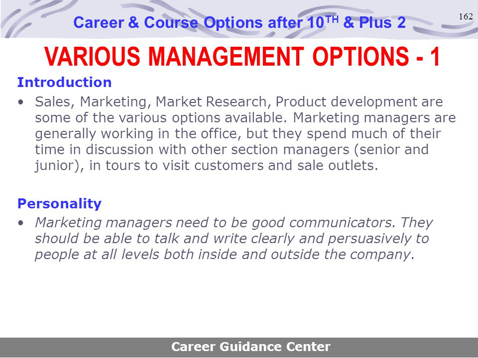 VARIOUS MANAGEMENT OPTIONS - 1