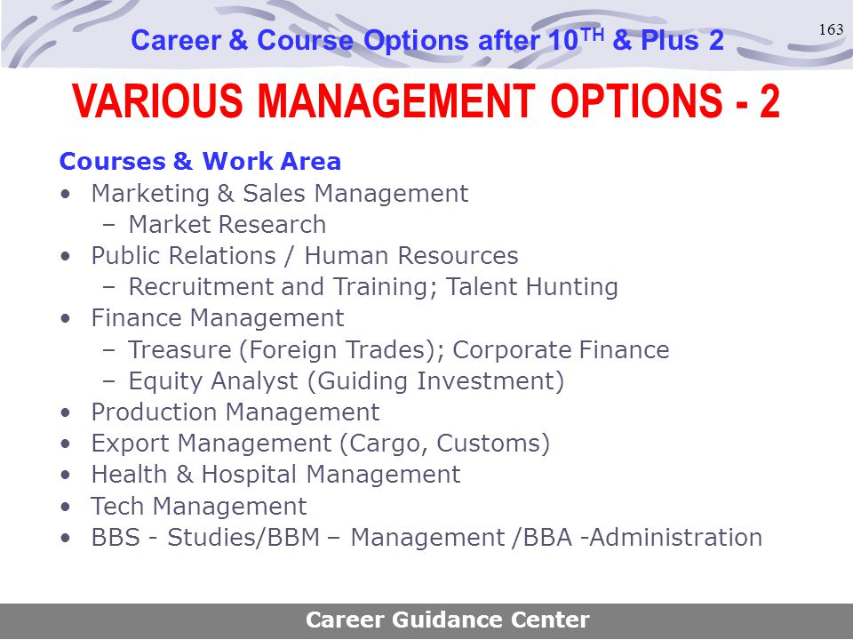 VARIOUS MANAGEMENT OPTIONS - 2
