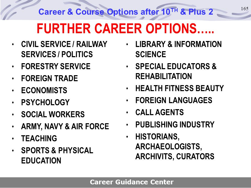 FURTHER CAREER OPTIONS…..