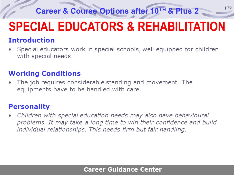 SPECIAL EDUCATORS & REHABILITATION