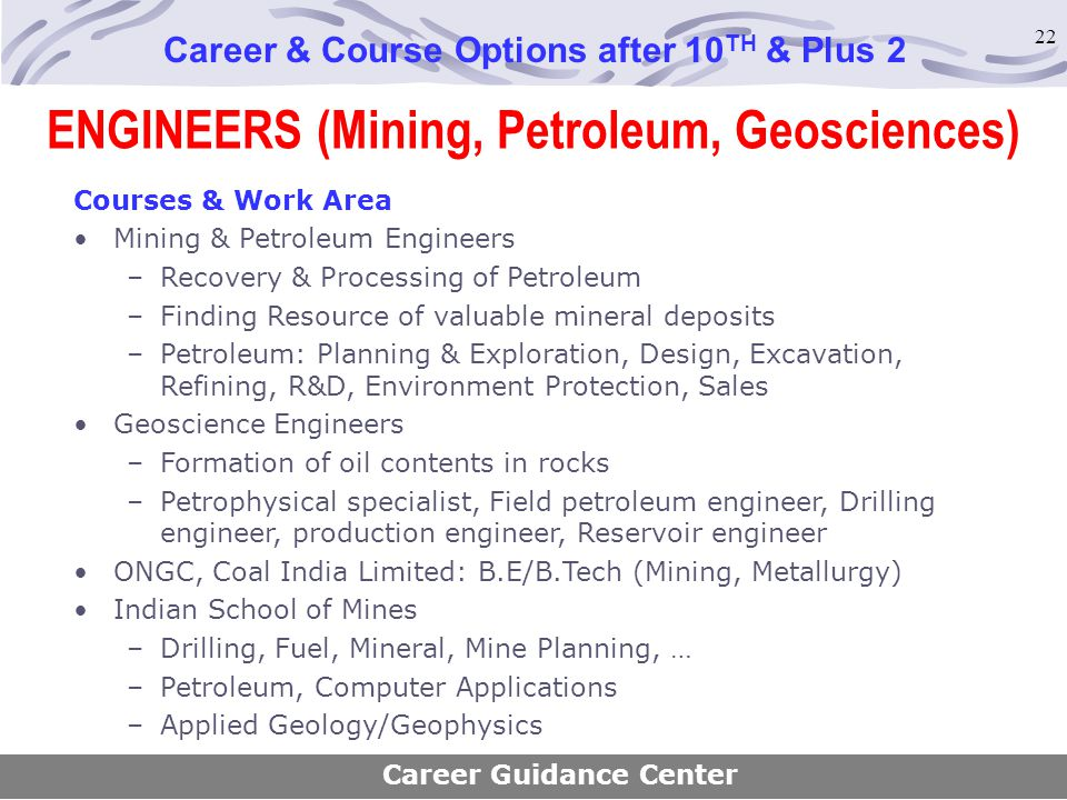 ENGINEERS (Mining, Petroleum, Geosciences)