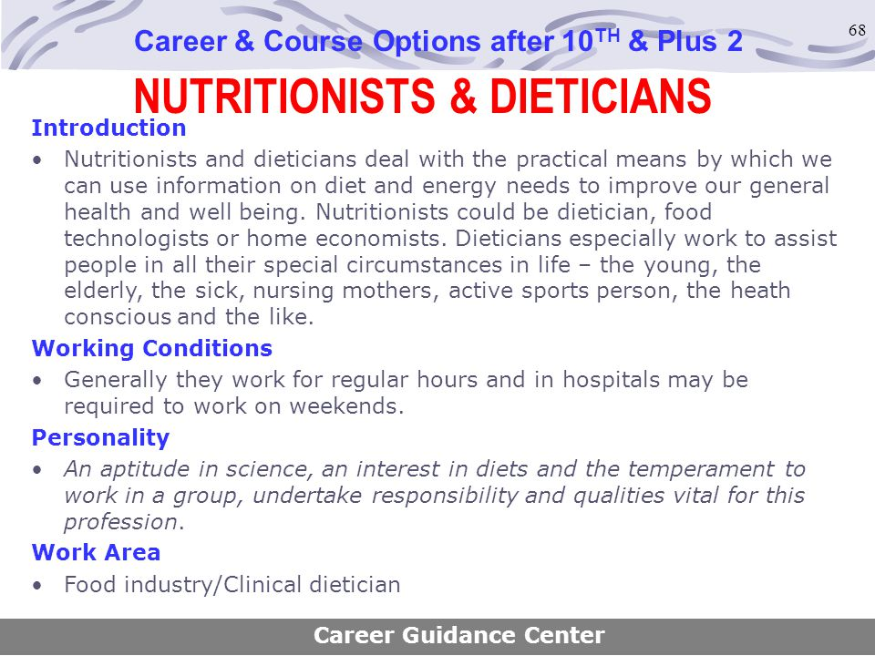 NUTRITIONISTS & DIETICIANS