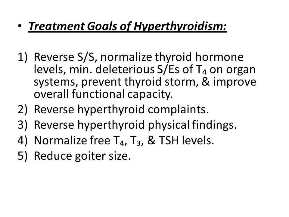 Treatment Goals of Hyperthyroidism: