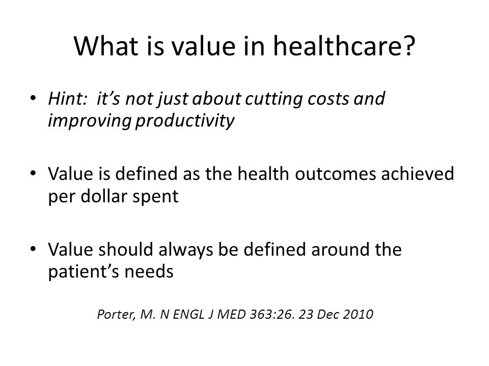 What is value in healthcare