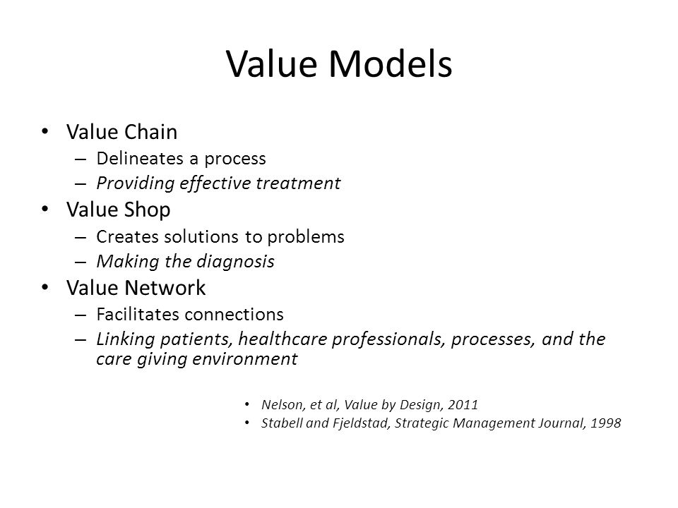 Value Models Value Chain Value Shop Value Network Delineates a process