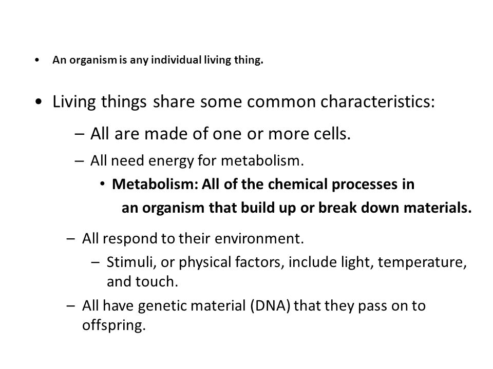 Living things share some common characteristics: