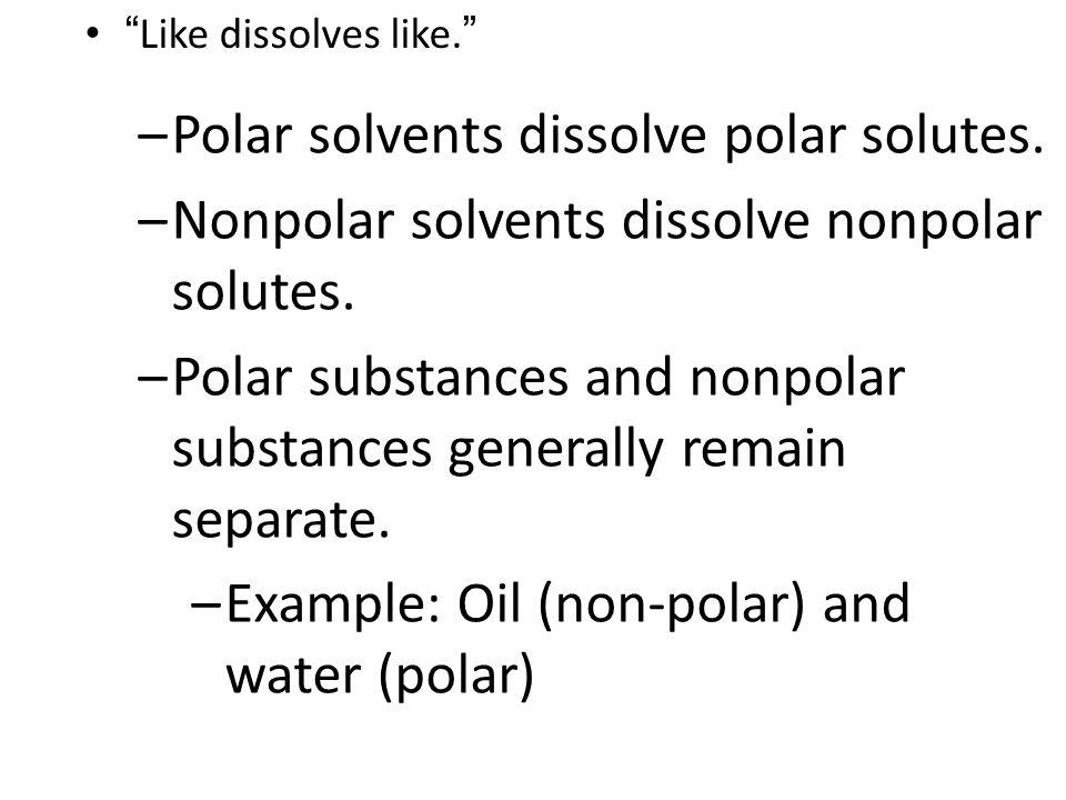 Polar solvents dissolve polar solutes.