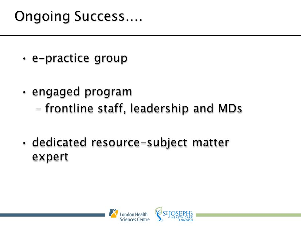 Ongoing Success…. e-practice group engaged program