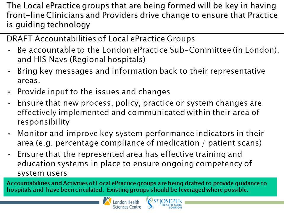 DRAFT Accountabilities of Local ePractice Groups