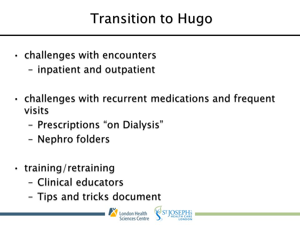 Transition to Hugo challenges with encounters inpatient and outpatient