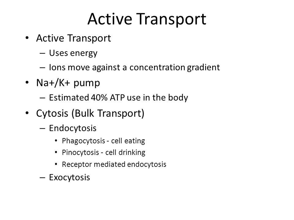 Active Transport Active Transport Na+/K+ pump Cytosis (Bulk Transport)