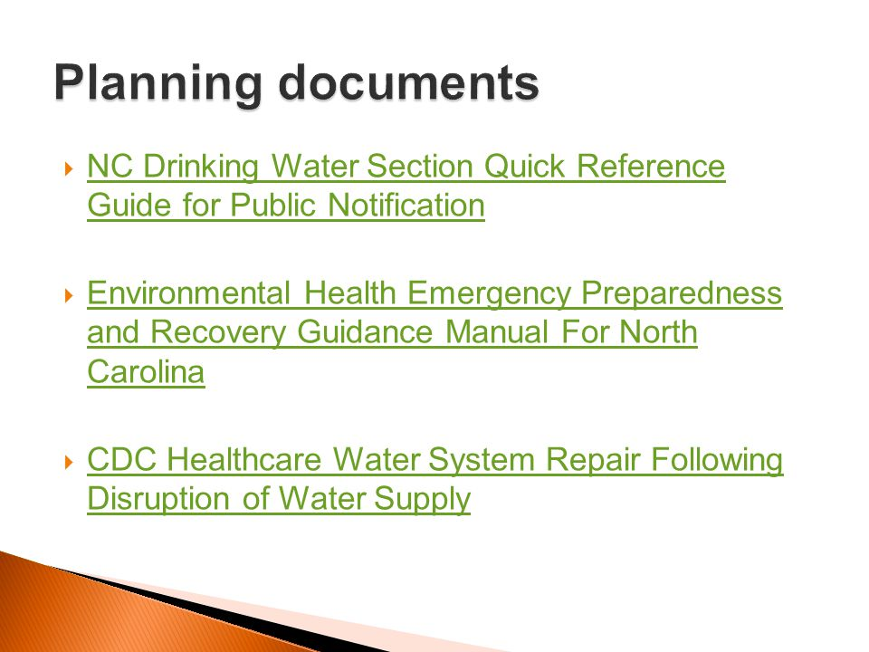 Planning documents NC Drinking Water Section Quick Reference Guide for Public Notification.
