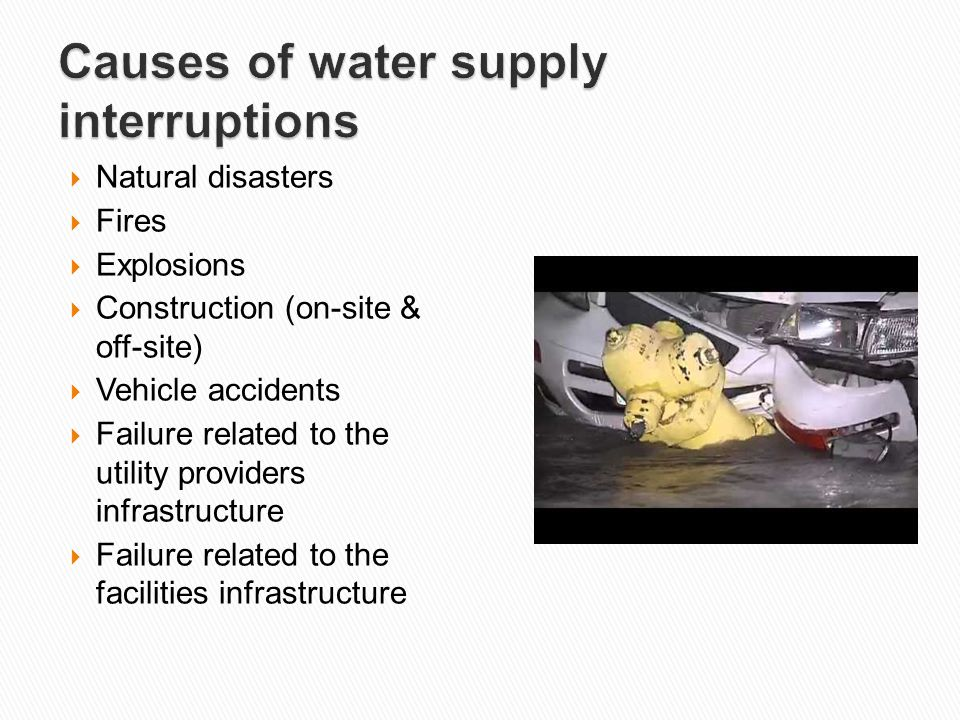 Causes of water supply interruptions