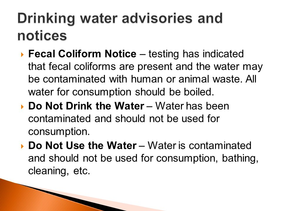 Drinking water advisories and notices