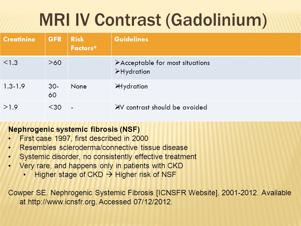 MRI IV Contrast (Gadolinium)