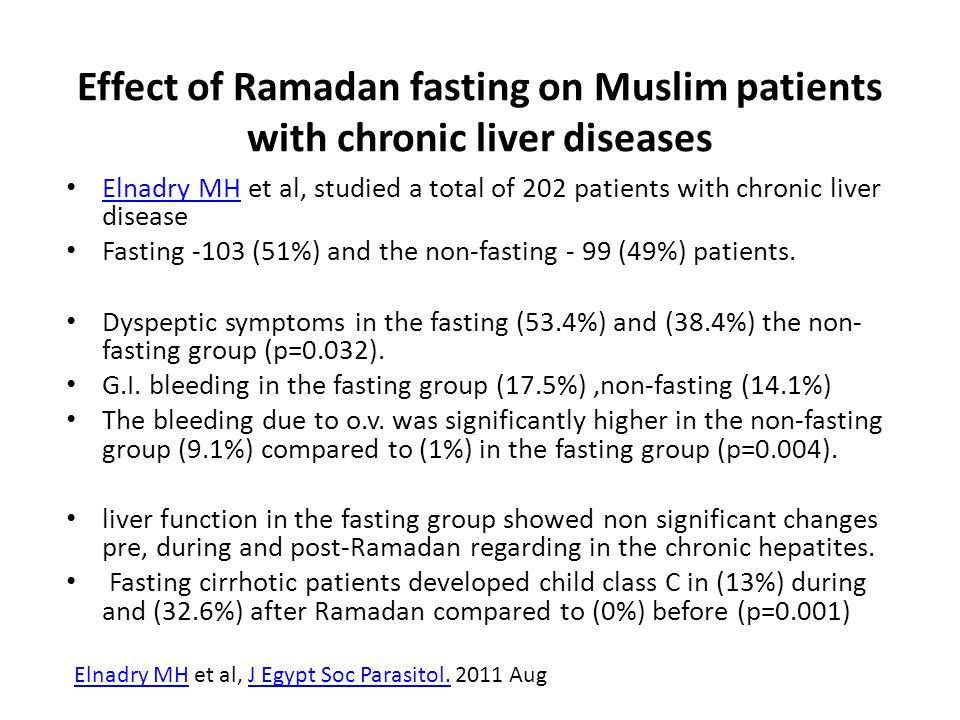Effect of Ramadan fasting on Muslim patients with chronic liver diseases