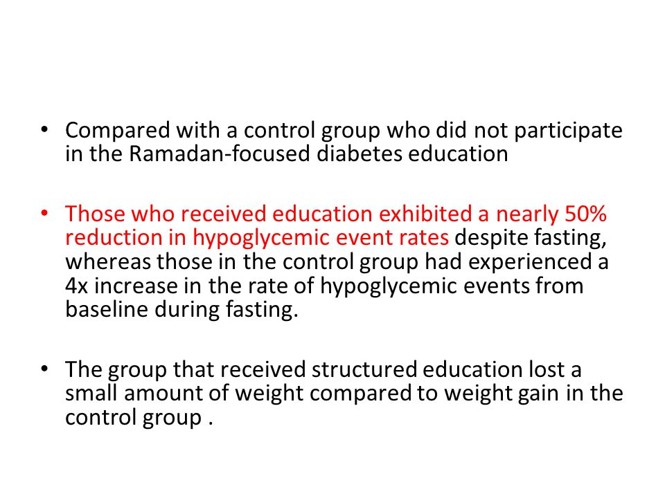 Compared with a control group who did not participate in the Ramadan-focused diabetes education